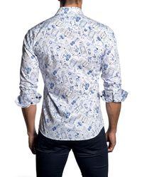 Jared Lang Blue Car-print Sport Shirt for men