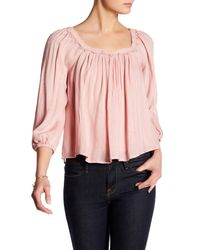 Lush | Pink Crochet Detail Peasant Blouse | Lyst