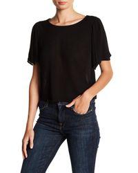 Lush | Black Short Sleeve Back Tie Shirt | Lyst