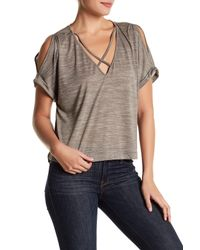 Lush | Gray Short Sleeve Knit Tee | Lyst
