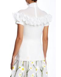 Gracia - White Ruffle Trimmed Short Sleeve Tee - Lyst