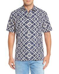 Tommy Bahama | Blue Dourados Diamonds Standard Fit Silk Camp Shirt for Men | Lyst