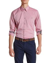 Ted Baker - Red Long Sleeve Trim Fit Oxford Shirt for Men - Lyst