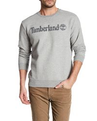 Timberland | Gray Long Sleeve Linear Logo Pullover for Men | Lyst