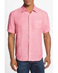 Tommy Bahama | Pink Party Breezer Island Modern Fit Short Sleeve Linen Sport Shirt for Men | Lyst