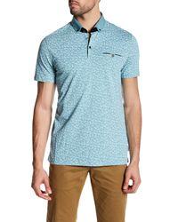 Ted Baker | Blue Short Sleeve Allover Print Polo Shirt for Men | Lyst