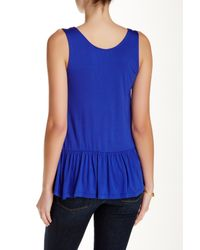 West Kei - Blue Knit Peplum Tank - Lyst