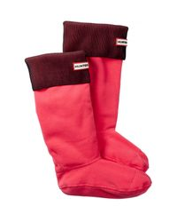 HUNTER | Pink Pleated Ribbed Boot Sock | Lyst