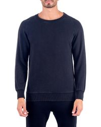 Unsimply Stitched | Blue Stone Washed French Terry Relaxed Neck Crew Sweater for Men | Lyst