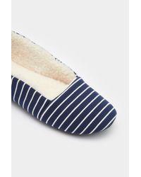 Joules | Blue Dreama Stripe Faux Shearling Lined Slipper | Lyst