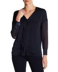 VINCE | Black Long Sleeve Hi-lo V-neck Shirt | Lyst