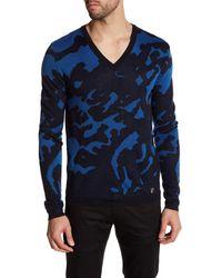 Versace | Blue V-neck Long Sleeve Print Sweater for Men | Lyst