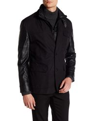 Vince Camuto   Black Faux Leather Paneled Jacket for Men   Lyst