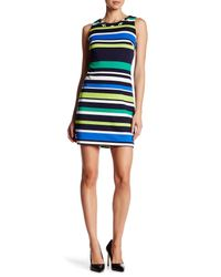 Vince Camuto | Blue Sleeveless Embellished Print Dress | Lyst