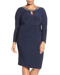 Vince Camuto - Blue Embellished Neck Jersey Sheath Dress (plus Size) - Lyst