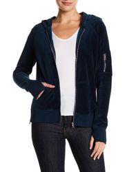 Pam & Gela | Blue Velour Front Zip Hoodie | Lyst