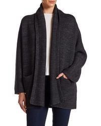 VINCE | Gray Wool Blend Knit Car Coat | Lyst