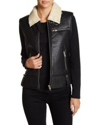 W118 by Walter Baker | Black Genuine Leather Faux Shearling Sleeveless Vest | Lyst