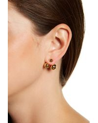 Kate Spade | Metallic Gold Plated Double Bauble Ear Jackets | Lyst