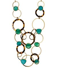 Kate Spade - Metallic Gold Plated Rhinestone & Ring Link Statement Necklace - Lyst