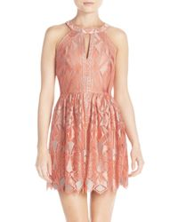 BCBGMAXAZRIA | Pink 'megyn' Lace Fit & Flare Dress | Lyst