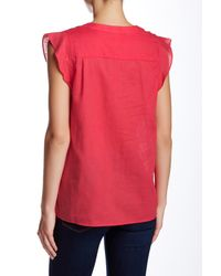 Joe Fresh - Red Flutter Linen Blouse - Lyst