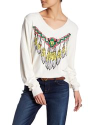 Wildfox - White Route 66 V-neck Sweater - Lyst