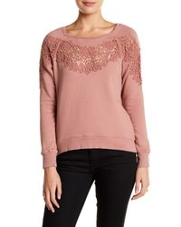 Pam & Gela | Purple Annie Hi-lo Lace Inset Sweatshirt | Lyst