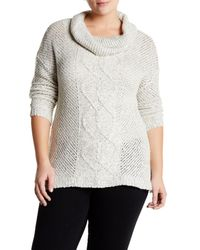 BB Dakota | Multicolor Dugger Cable Knit Cowl Neck Sweater (plus Size) | Lyst