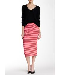 Sanctuary - Red Midi Striped Pencil Skirt - Lyst