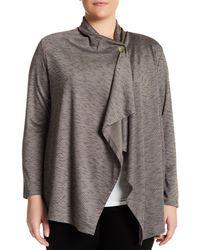 Bobeau - Gray Space Dye Button Cardigan (plus Size) - Lyst