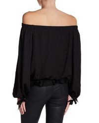 Do+Be Collection - Black Off Shoulder Long Sleeve Blouse - Lyst