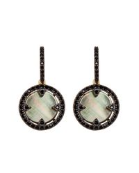 Freida Rothman | Multicolor Two-tone Slated Noir Cz & Mother Of Pearl Disc Drop Earrings | Lyst