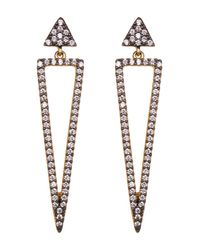 Freida Rothman - Metallic Two-tone Cz Pave Arrow Drop Earrings - Lyst