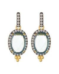 Freida Rothman - Metallic Two-tone Aquamarine Oval Drop Earrings - Lyst