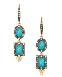 Freida Rothman - White 14k Gold & Rhodium Plated Sterling Silver Turquoise & Cz Short Drop Earrings - Lyst