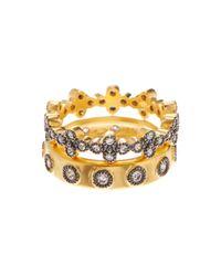 Freida Rothman | Metallic Two-tone Mixed Clover Ring Set | Lyst