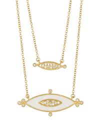 Freida Rothman - White 14k Gold Plated Sterling Silver Cz Marquise Enamel Necklace - Lyst