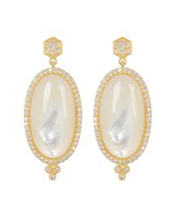 Freida Rothman - Metallic Framed Oval Mother Of Pearl & Cz Drop Earrings - Lyst