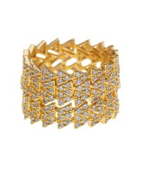 Freida Rothman - Metallic 14k Gold Plated Sterling Silver Arrow Cz Pave Eternity Ring - Set Of 5 - Size 7 - Lyst