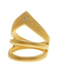 Freida Rothman | Metallic 14k Gold Plated Sterling Silver Single Cz Arrow Ring - Size 8 | Lyst