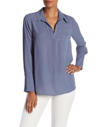 Pleione - Blue Pleated Back Chiffon Hi-lo Blouse - Lyst