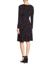 Maggy London - Black Gathered Side Polkadot Dress - Lyst