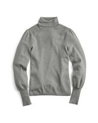 J.Crew - Gray Balloon Sleeve Turtleneck Sweater (regular & Plus Size) - Lyst