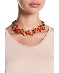 Trina Turk - Orange Resin Detail Flower Embellished Necklace - Lyst
