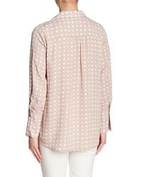 Pleione - Pink Pleated Back Chiffon Hi-lo Blouse - Lyst