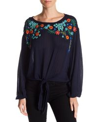 Free People - Blue Up And Away Embroidered Floral Blouse - Lyst
