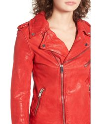 Lamarque - Red Washed Lambskin Leather Moto Jacket - Lyst