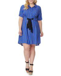 REBEL WILSON X ANGELS - Blue Tie Waist Shirt Dress - Lyst
