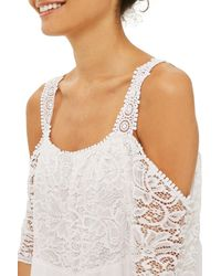 TOPSHOP - White Lace Off The Shoulder Babydoll Dress - Lyst